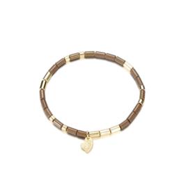 Armband parels fijn mat bruin