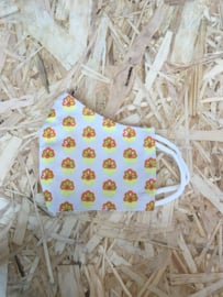 Mondmasker bloem wit/geel/oranje