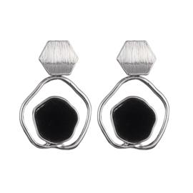 Oorbel zeshoek zilver/zwart