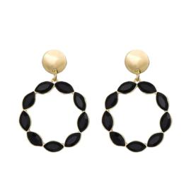 Oorbel cirkel parels zwart/goud