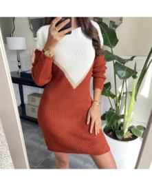 Sweaterkleed v ecru/roest