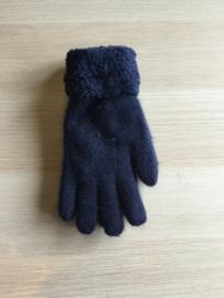 Handschoen effen pelsje donkerblauw
