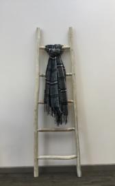 Sjaal ruit + flushen zwart/ecru/Bordeaux