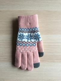 Handschoen print roos/petrol