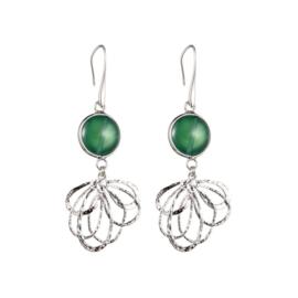 Oorbel groen/zilver