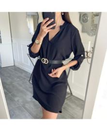 Kleed effen zwart + riem