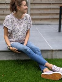 T-shirt bloemetjes paars