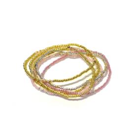 Armband parels roos/goud