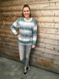 Sweater kabel zwart/grijs