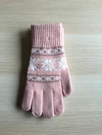 Handschoen print roos/wit