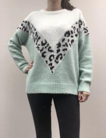 Sweater v leopard muntgroen