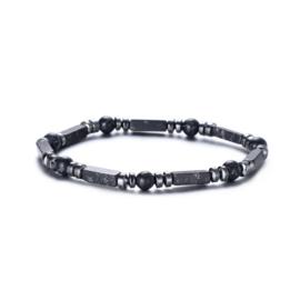 Herenarmband parels + staafjes zwart