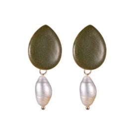 Oorbel glitter + parel groen/goud