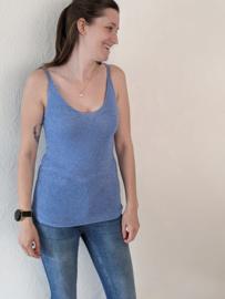 Top glitter jeansblauw