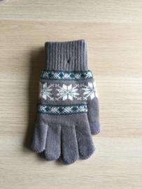 Handschoen print grijs/wit
