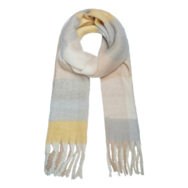Sjaal ruit + flushen beige/geel