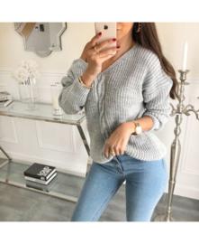Sweater v kabel lichtgrijs