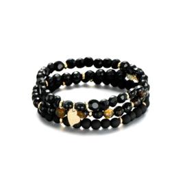 Armband parels set van 3 zwart