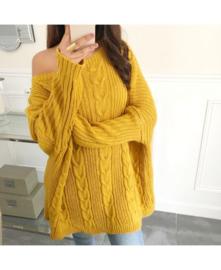 Sweater oversized effen oker