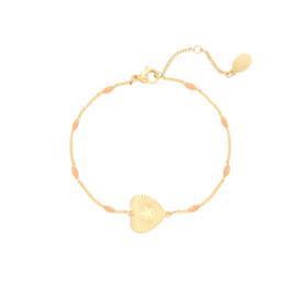 Armband hartje zalmroos/goud
