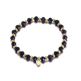 Armband parels zwart/goud