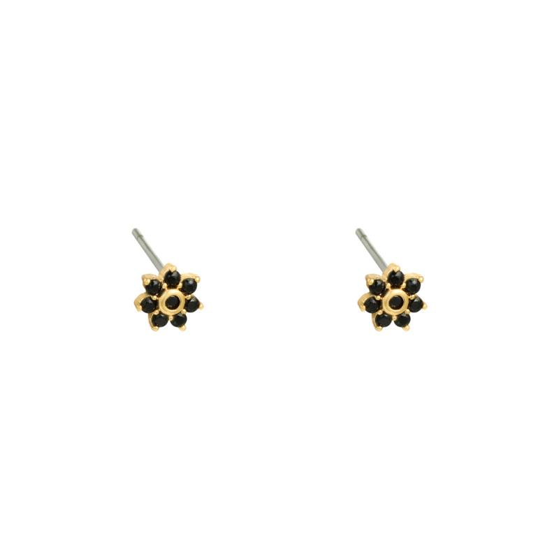 Oorbel bloem zwart/goud
