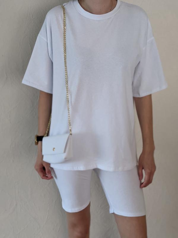 Setje t-shirt + short + handtasje wit