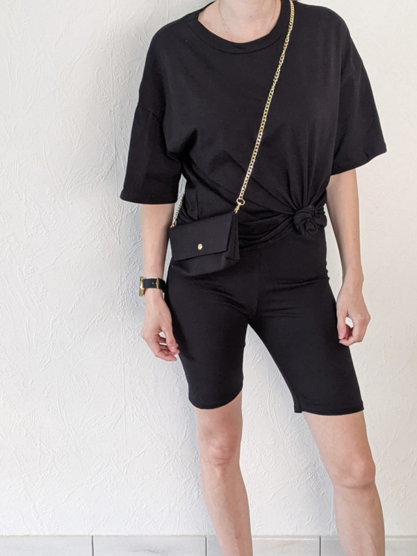 Setje t-shirt + short + handtasje zwart