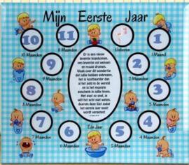 Baby Fotolijst Glas- Mijn   Eerste Jaar - Baby's