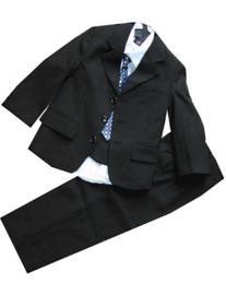 Kostuum 3 Delig  Zwart / Grijs streepje