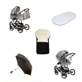 Combineer en bespaar : Bijpassende verzorgingstas + ultra soft matrasje + regenhoes + parasol + voetenzak