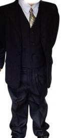 Kostuum Zwart 4 Delig  / Glansstreepje