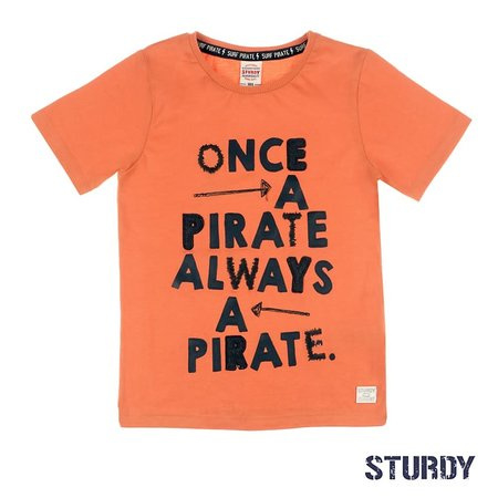 Sturdy T-shirt once a pirate oranje - Treasure hunter