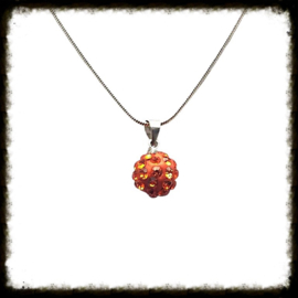 Zilveren ketting Shamballa Oranje  ZKS-10