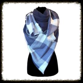 Warm geblokte  sjaal Blauw