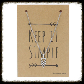 RVS Ketting Triple Triangel