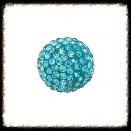 Strass klankbol turquoise - 16mm