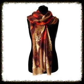 Sjaal Bruin/lichtbruin/rood