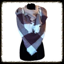Warm geblokte  sjaal Aubergine