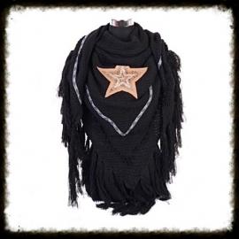 Omslagdoek/Driehoeksjaal STAR Zwart