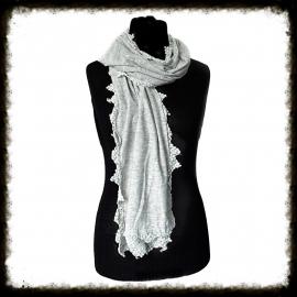 Sjaal met gehaakt randje - Licht Grijs