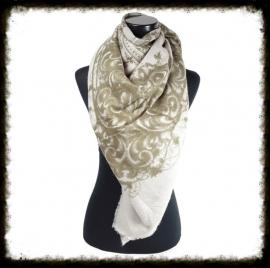 Vierkante sjaal met fantasieprint Licht Taupe