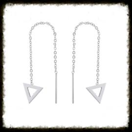 RVS Oorbellen Chain Triangle Open