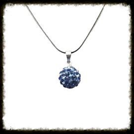 Zilveren ketting Shamballa Blauw  ZKS-07
