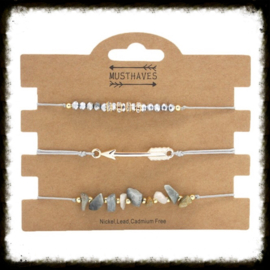 Armbandsetje Stones & Arrow Grijs