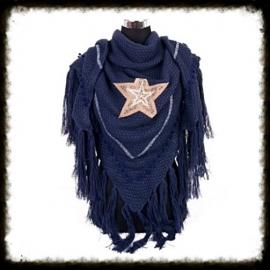 Omslagdoek/Driehoeksjaal STAR Blauw