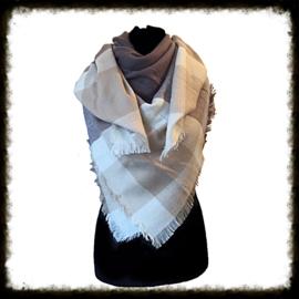 Warm geblokte  sjaal Antraciet