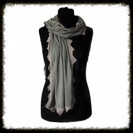 Sjaal met gehaakt randje - Taupe