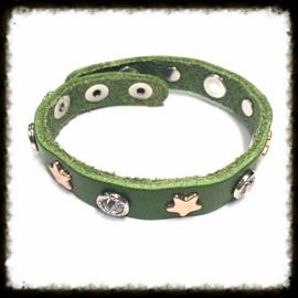 Lederen  Armband Groen