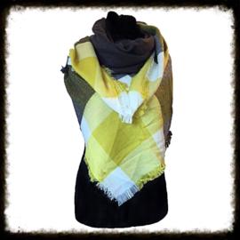 Warm geblokte  sjaal Geel